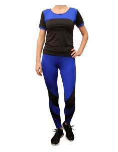 Комплект для фитнеса женский эластик черный синий модель 2 р. 42-48