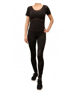 Комплект для фитнеса женский эластик черный с сеткой модель 3 р. 42-48