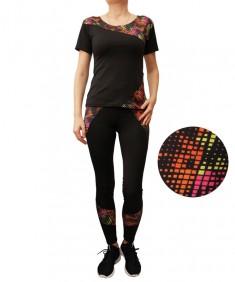 Комплект для фитнеса женский эластик черный с мозаикой модель 4 р. 42-48