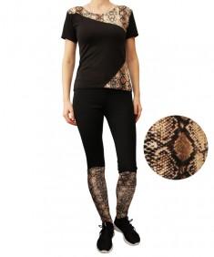 Комплект для фитнеса эластик черный с принтом змея р. 42-48