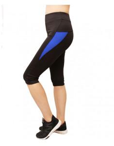 Бриджи спортивные эластик черные синяя вставка р. 42-48