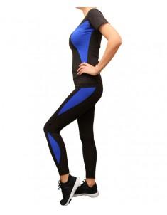 Комплект для фитнеса женский эластик синие вставки р. 42-48