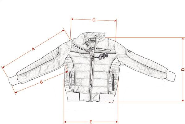 Фактические замеры размеров курточки на мальчика