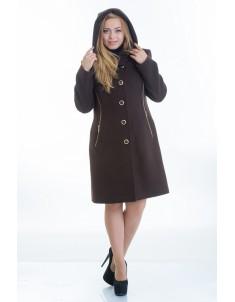 Пальто модель №9 капюшон шоколадное (весна/осень). Размер 44-48