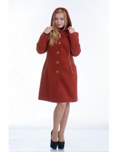 Пальто модель №9 капюшон рыжее (весна/осень). Размер 44-48