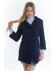 Пальто модель №16 фрак синее (весна/осень). Размер 40-48