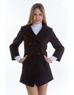 Пальто модель №16 фрак шоколадное (весна/осень). Размер 40-48
