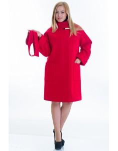 Пальто модель №20 красное (осень/зима). Размер 46-54