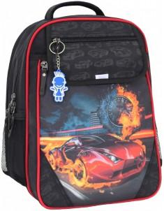 Рюкзак школьный Отличник 1-3 класс черный красный с машиной