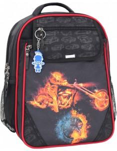 Рюкзак школьный Отличник 1-3 класс черный красный с мотоциклом