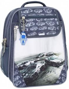 Рюкзак школьный Отличник 1-3 класс серый машины