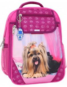 Рюкзак школьный Отличник 1-3 класс малиновый собака 18