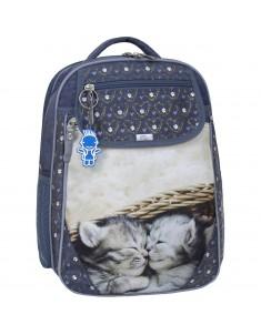 Рюкзак школьный Отличник 1-3 класс серый котята 165к
