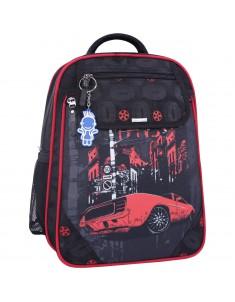 Рюкзак школьный Отличник 1-3 класс черный 568 с машиной
