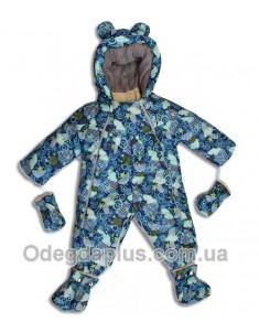 Детский комбинезо-трансформер со съемной овчиной синий принт