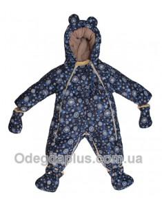 Детский комбинезо-трансформер со съемной овчиной синие снежинки